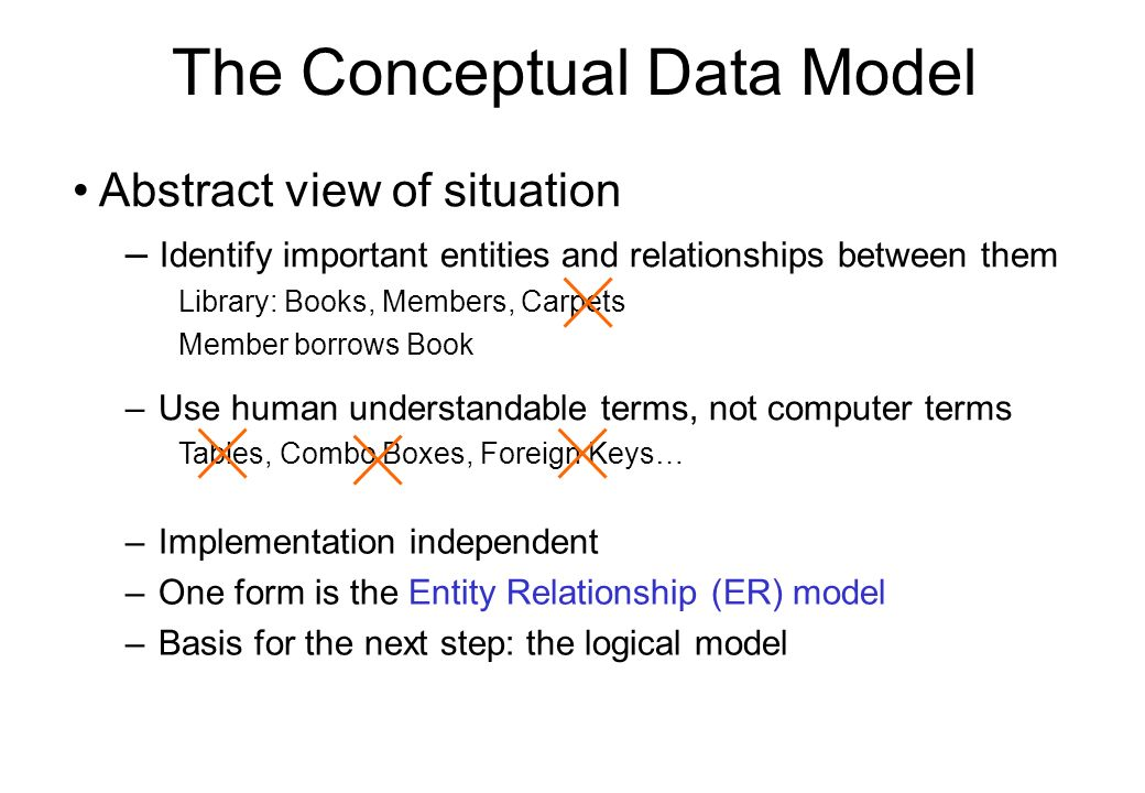 –Use human understandable terms, not computer terms Tables, Combo Boxes, Foreign Keys… The Conceptual Data Model –Implementation independent –One form
