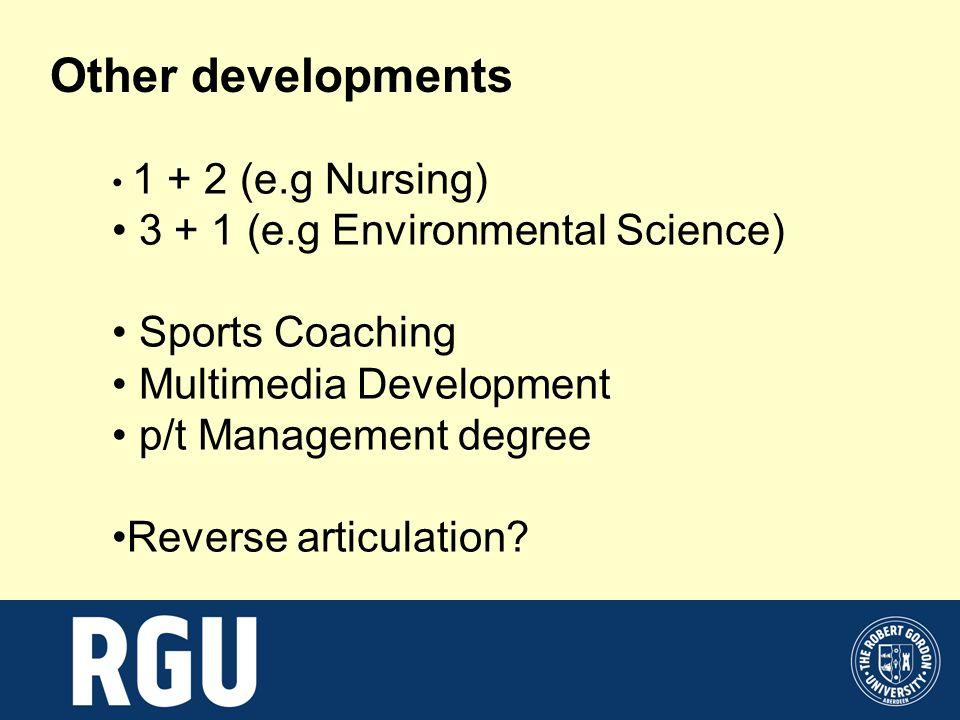 Other developments 1 + 2 (e.g Nursing) 3 + 1 (e.g Environmental Science) Sports Coaching Multimedia Development p/t Management degree Reverse articula