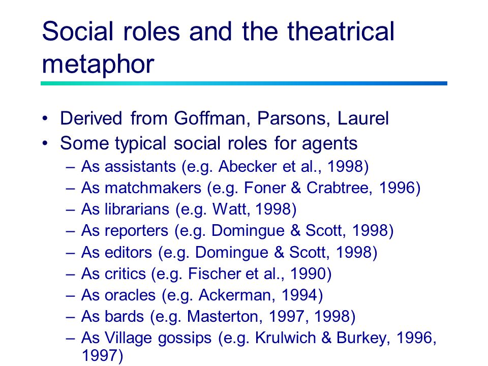 Social roles and the theatrical metaphor Derived from Goffman, Parsons, Laurel Some typical social roles for agents –As assistants (e.g.