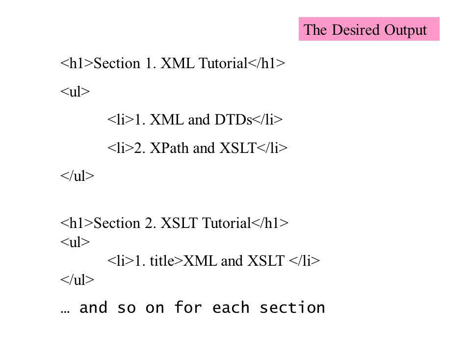 Section 1. XML Tutorial 1. XML and DTDs 2. XPath and XSLT Section 2. XSLT Tutorial 1. title>XML and XSLT … and so on for each section The Desired Outp