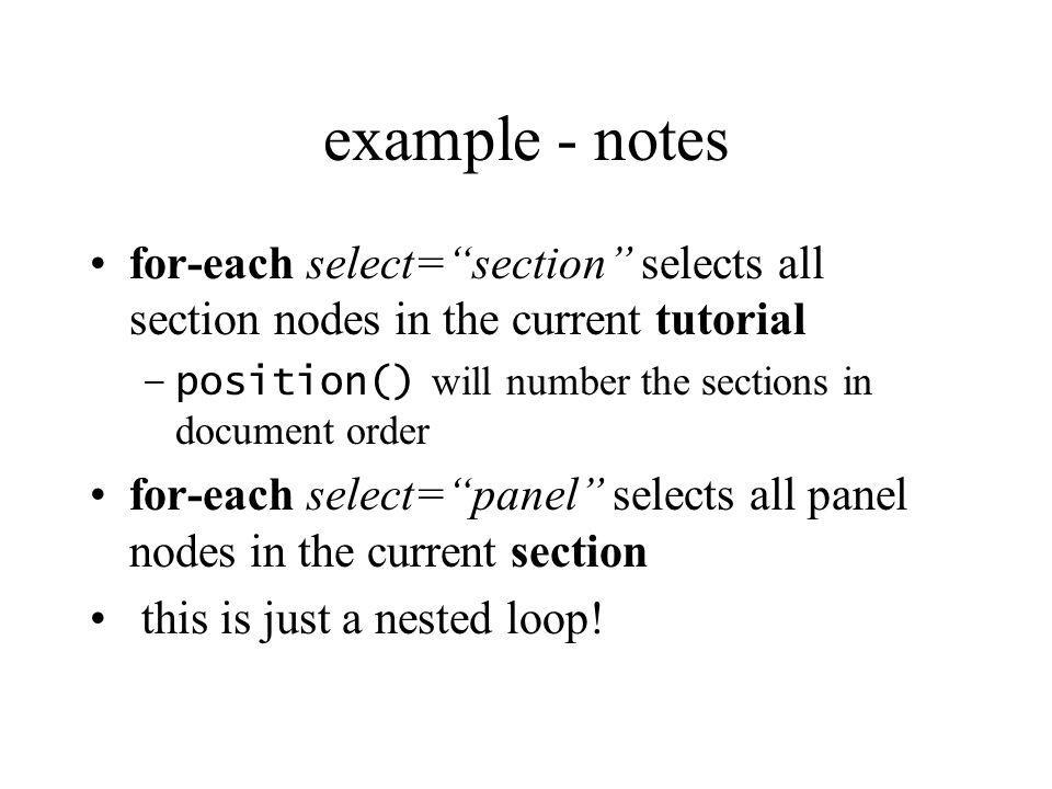 modes Sometimes you may wish to transform the same node in more than one way The transform for a node is defined in a template A mode attribute is available for template and apply-templates elements This allows more than one template to be defined for any node
