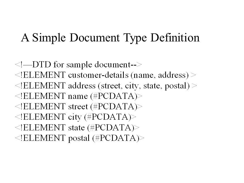 A Simple Document Type Definition