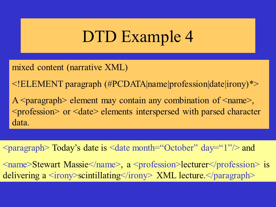 DTD Example 4 mixed content (narrative XML) A element may contain any combination of, or elements interspersed with parsed character data. Todays date