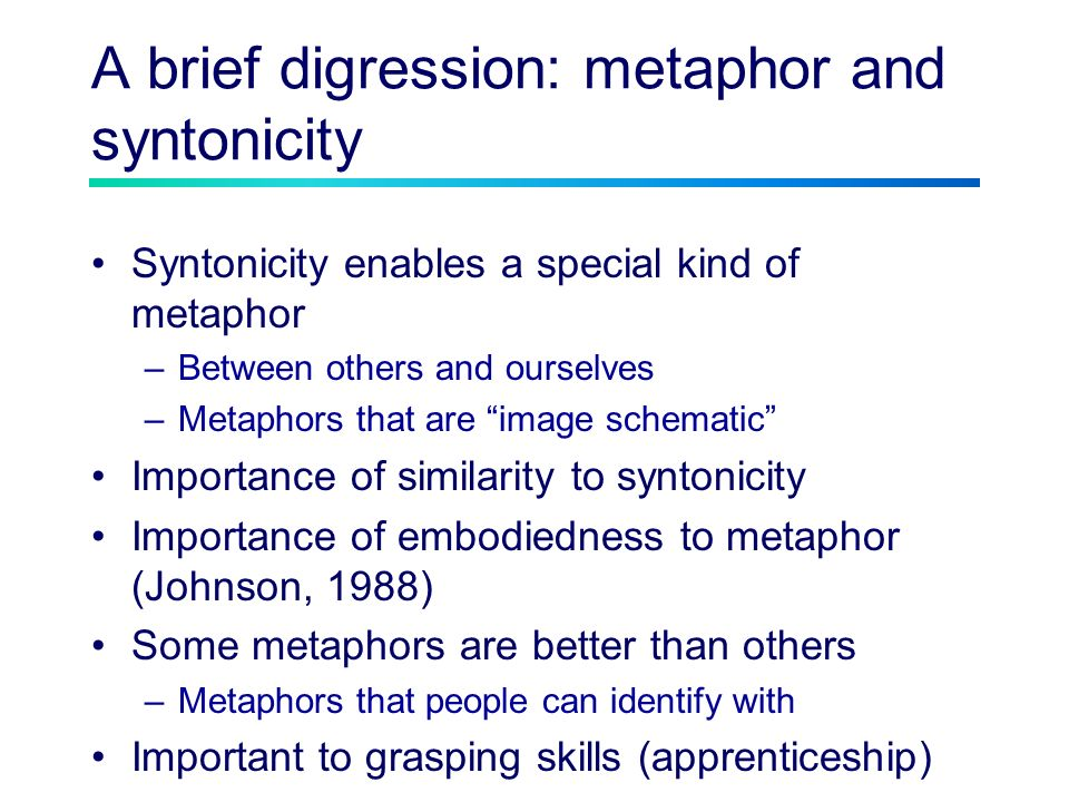 A brief digression: metaphor and syntonicity Syntonicity enables a special kind of metaphor –Between others and ourselves –Metaphors that are image schematic Importance of similarity to syntonicity Importance of embodiedness to metaphor (Johnson, 1988) Some metaphors are better than others –Metaphors that people can identify with Important to grasping skills (apprenticeship)