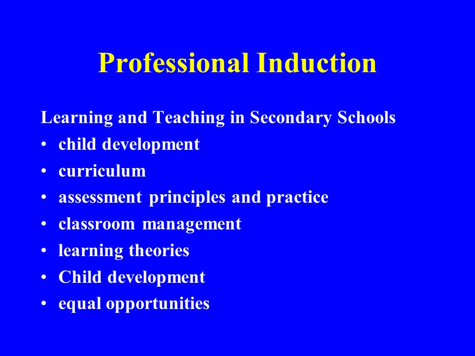 Professional Induction Learning and Teaching in Secondary Schools child development curriculum assessment principles and practice classroom management