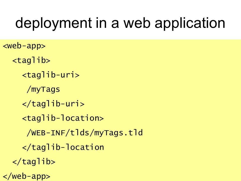 deployment in a web application /myTags /WEB-INF/tlds/myTags.tld </taglib-location