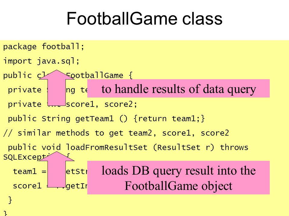 FootballGame class package football; import java.sql; public class FootballGame { private String team1,team2 private int score1, score2; public String