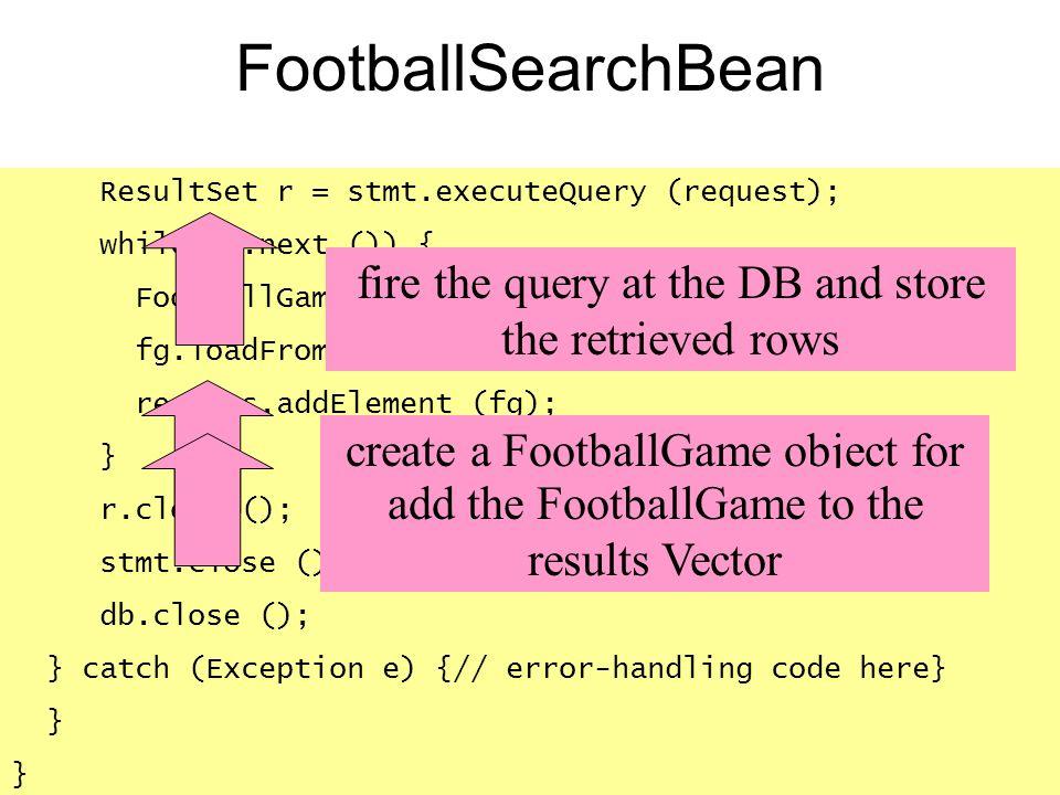 ResultSet r = stmt.executeQuery (request); while (r.next ()) { FootballGame fg = new FootballGame (); fg.loadFromResultSet r; results.addElement (fg);
