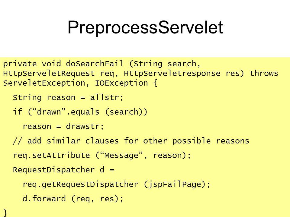 PreprocessServelet private void doSearchFail (String search, HttpServeletRequest req, HttpServeletresponse res) throws ServeletException, IOException