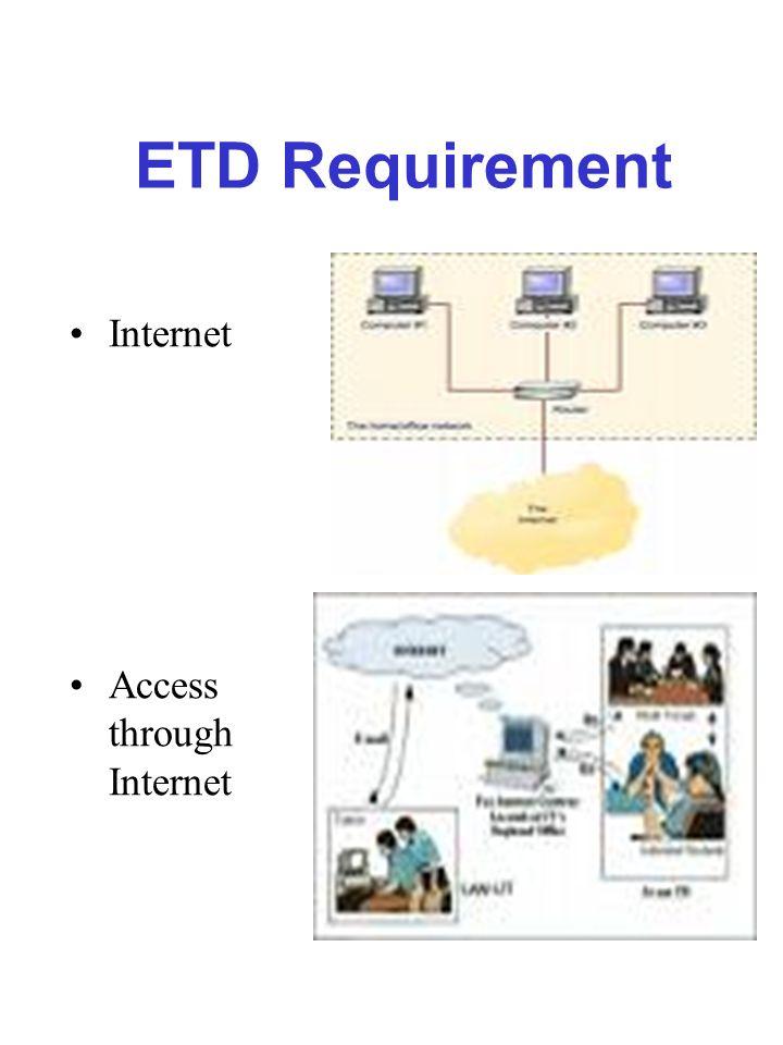 ETD Requirement Internet Access through Internet