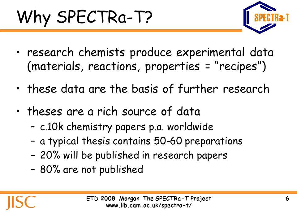 7ETD 2008_Morgan_The SPECTRa-T Project www.lib.cam.ac.uk/spectra-t/ Why SPECTRa-T.
