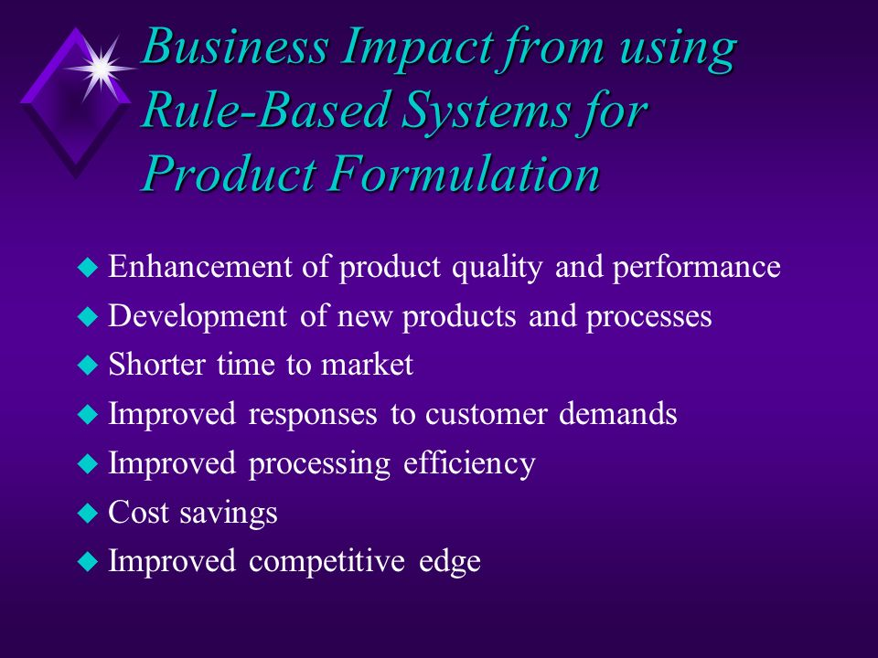Business Impact from using Rule-Based Systems for Product Formulation u Enhancement of product quality and performance u Development of new products a
