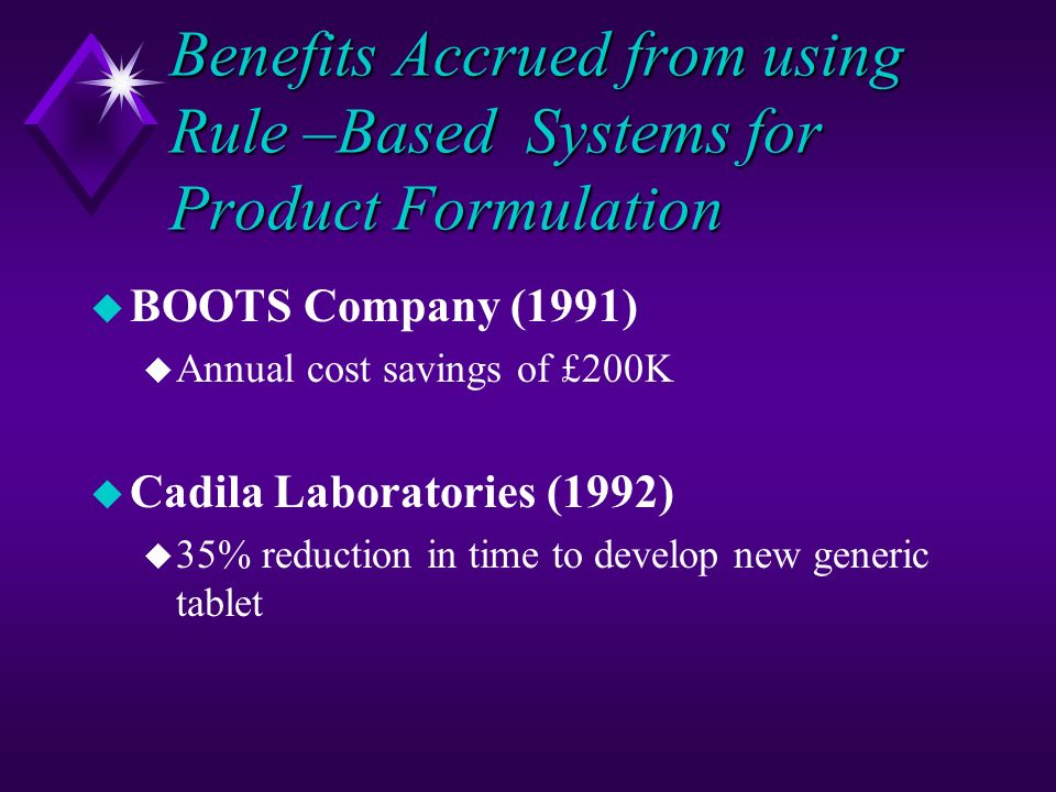 Benefits Accrued from using Rule –Based Systems for Product Formulation u BOOTS Company (1991) u Annual cost savings of £200K u Cadila Laboratories (1