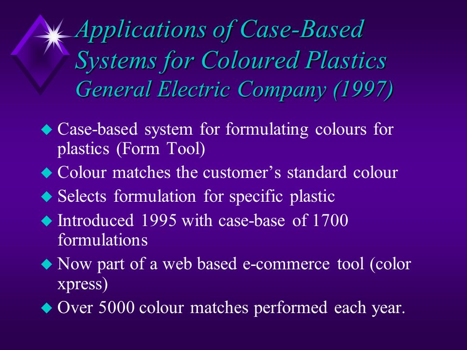 Applications of Case-Based Systems for Coloured Plastics General Electric Company (1997) u Case-based system for formulating colours for plastics (For