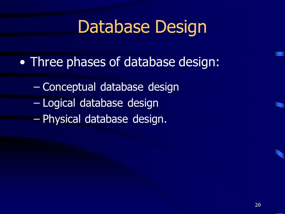 20 Database Design Three phases of database design: –Conceptual database design –Logical database design –Physical database design.