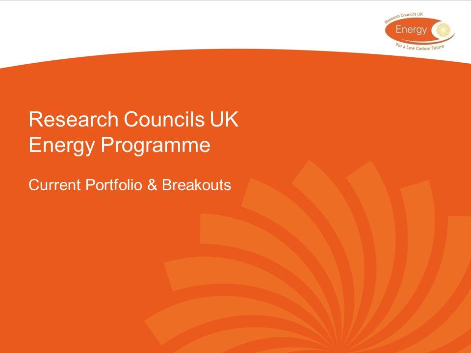 Research Councils UK Energy Programme Current Portfolio & Breakouts