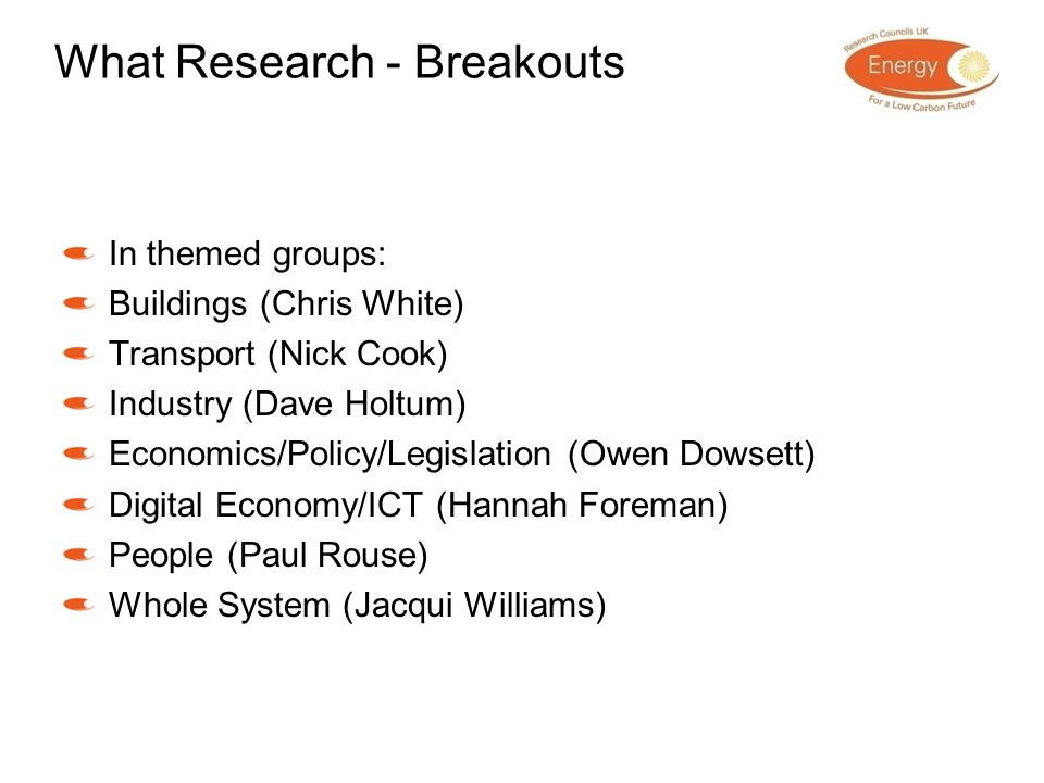 What Research - Breakouts In themed groups: Buildings (Chris White) Transport (Nick Cook) Industry (Dave Holtum) Economics/Policy/Legislation (Owen Do