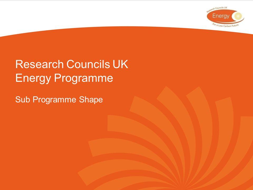 Research Councils UK Energy Programme Sub Programme Shape