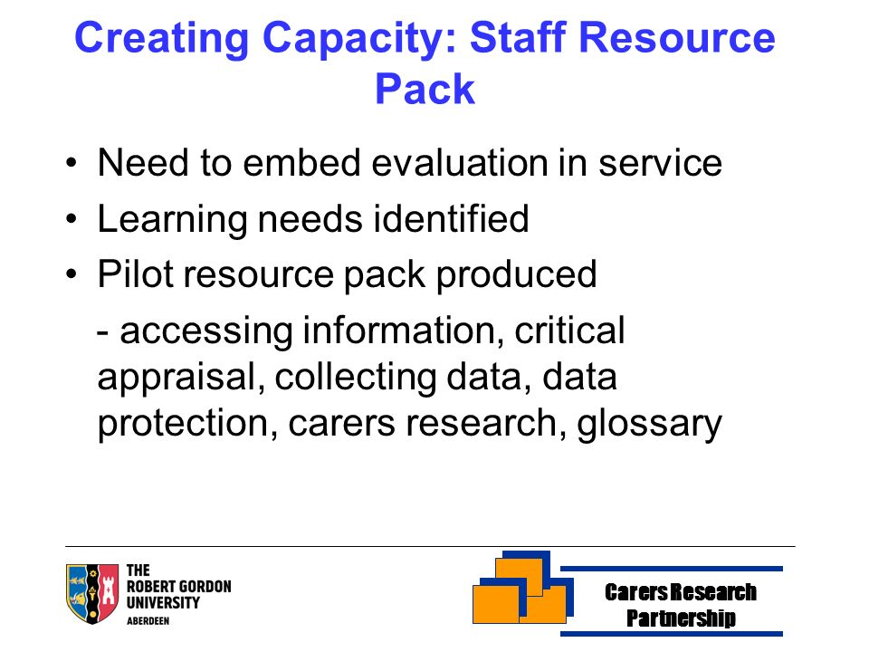Creating Capacity: Staff Resource Pack Need to embed evaluation in service Learning needs identified Pilot resource pack produced - accessing informat