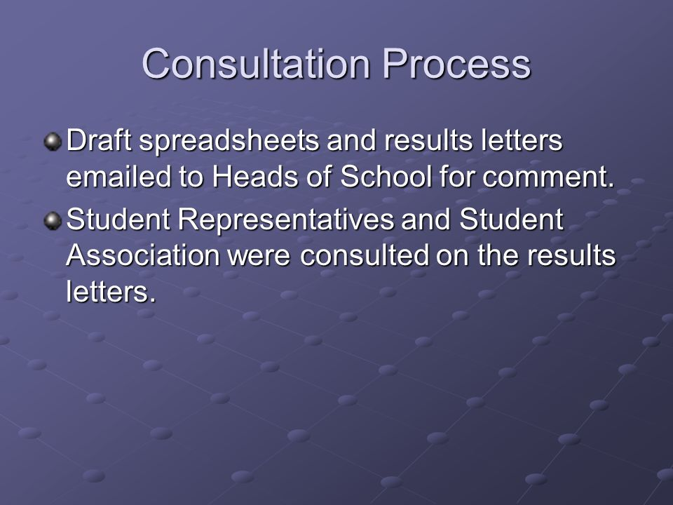 Consultation Process Draft spreadsheets and results letters emailed to Heads of School for comment. Student Representatives and Student Association we