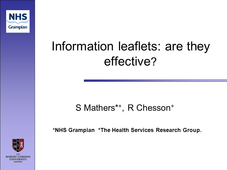 Information leaflets: are they effective .