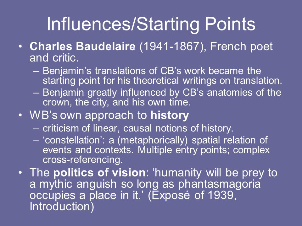Influences/Starting Points Charles Baudelaire (1941-1867), French poet and critic.