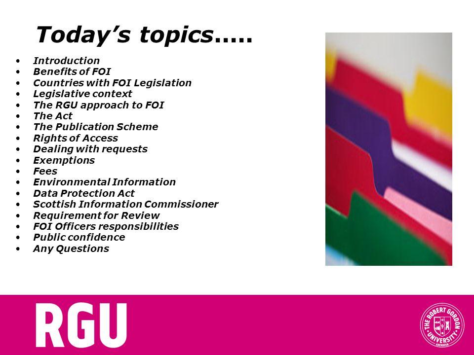 Todays topics.....