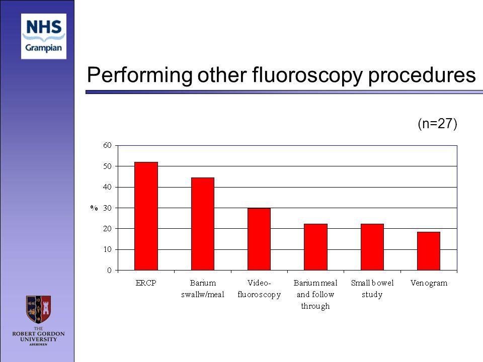 Performing other fluoroscopy procedures (n=27)