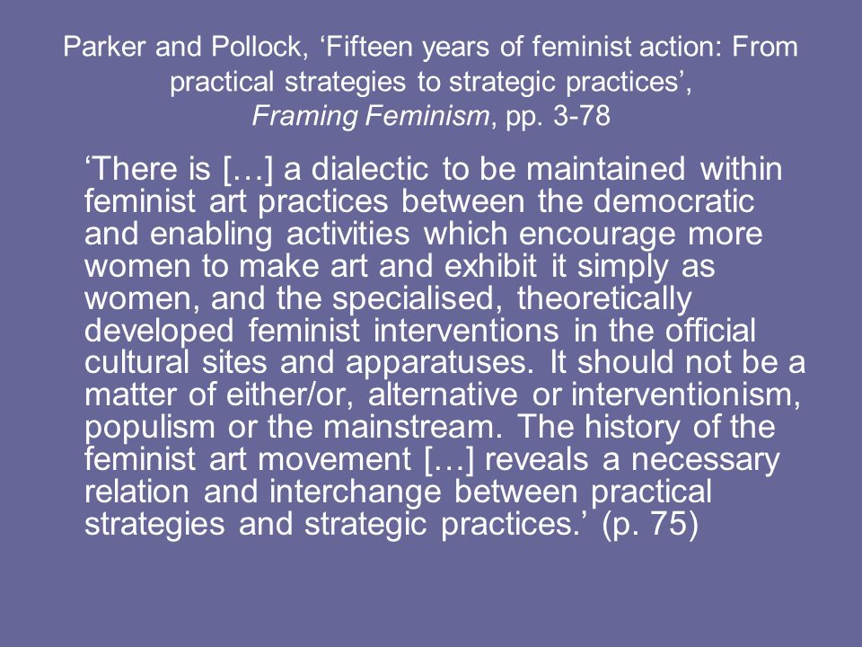Parker and Pollock, Fifteen years of feminist action: From practical strategies to strategic practices, Framing Feminism, pp. 3-78 There is […] a dial