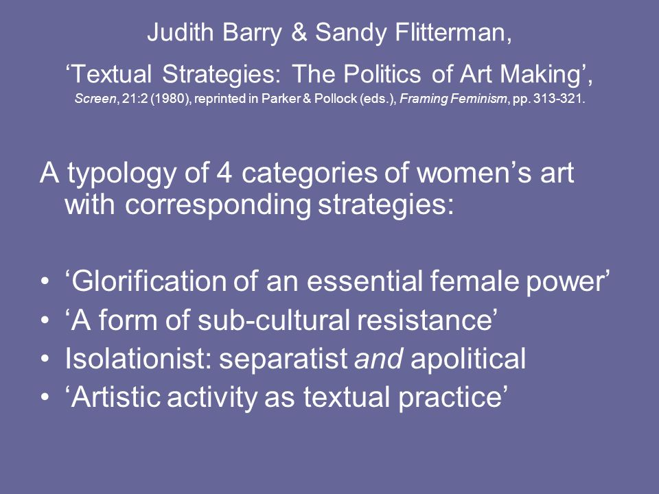 Judith Barry & Sandy Flitterman, Textual Strategies: The Politics of Art Making, Screen, 21:2 (1980), reprinted in Parker & Pollock (eds.), Framing Fe