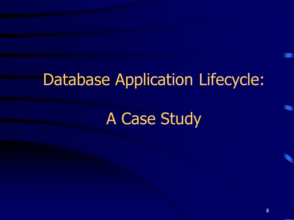 8 Database Application Lifecycle: A Case Study