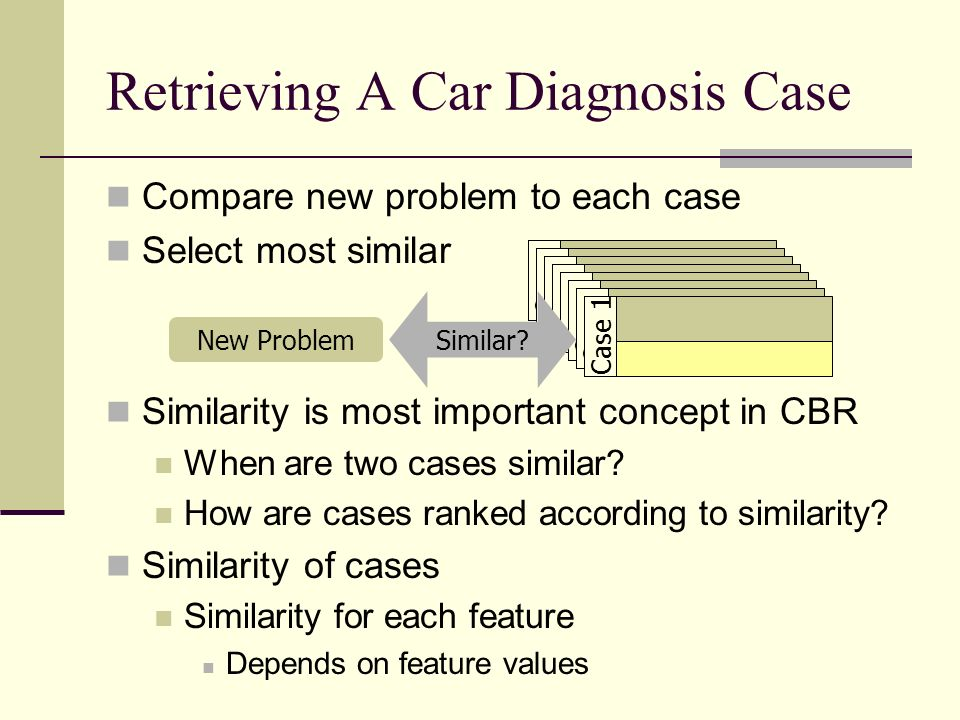 Compare new problem to each case Select most similar Similarity is most important concept in CBR When are two cases similar? How are cases ranked acco
