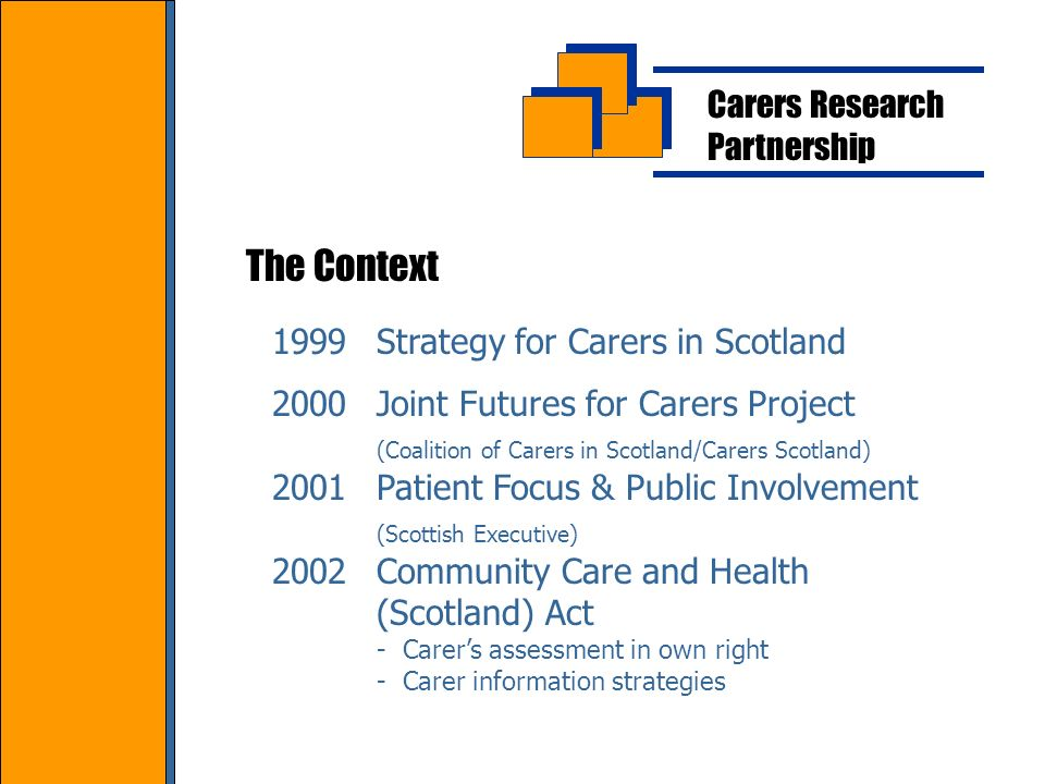Carers Research Partnership The Context 1999Strategy for Carers in Scotland 2000Joint Futures for Carers Project (Coalition of Carers in Scotland/Carers Scotland) 2001Patient Focus & Public Involvement (Scottish Executive) 2002Community Care and Health (Scotland) Act - Carers assessment in own right - Carer information strategies