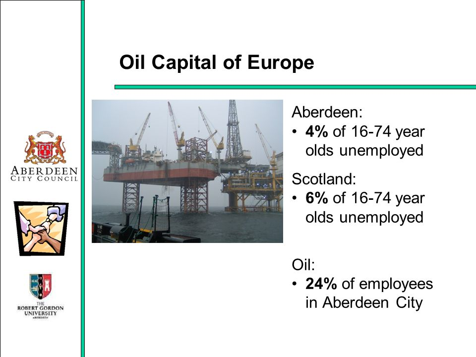 Oil Capital of Europe Aberdeen: 4% of 16-74 year olds unemployed Scotland: 6% of 16-74 year olds unemployed Oil: 24% of employees in Aberdeen City