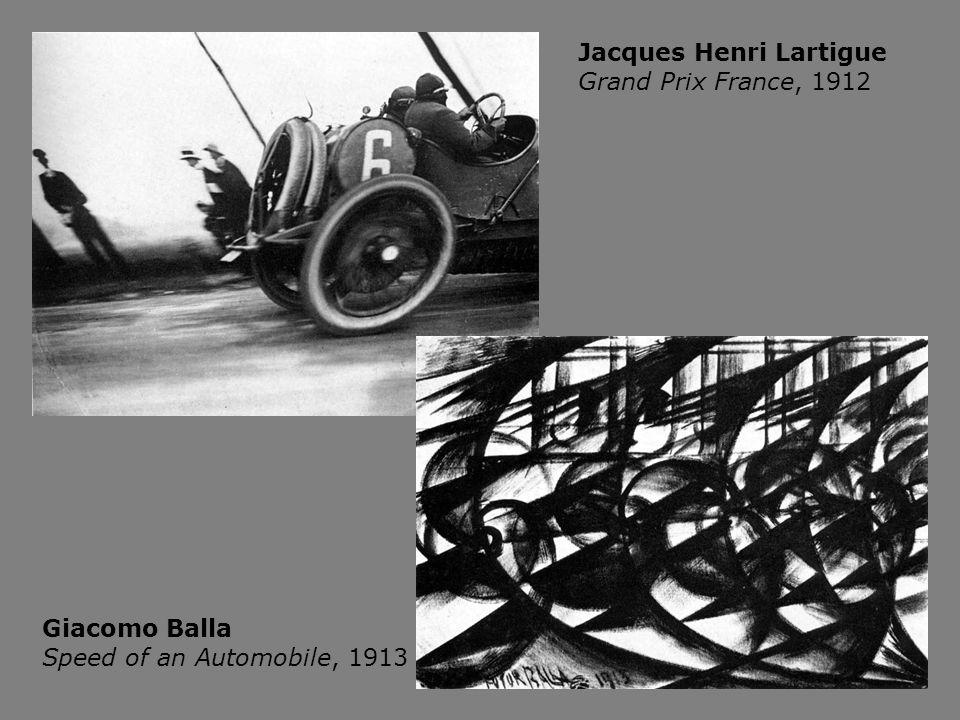 Jacques Henri Lartigue Grand Prix France, 1912 Giacomo Balla Speed of an Automobile, 1913