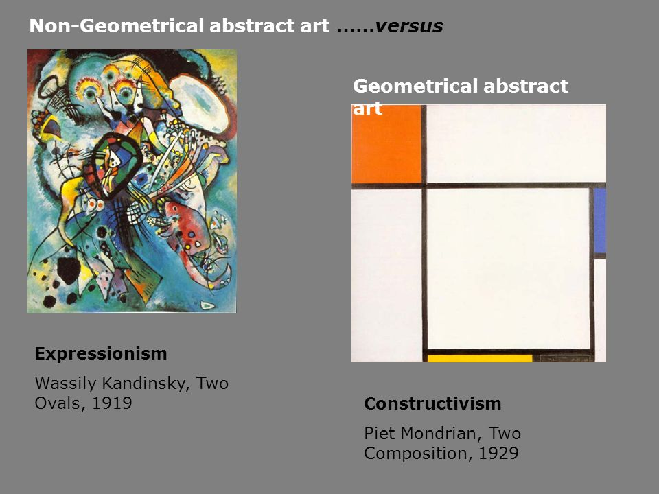 Non-Geometrical abstract art ……versus Geometrical abstract art Expressionism Wassily Kandinsky, Two Ovals, 1919 Constructivism Piet Mondrian, Two Comp