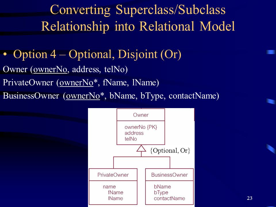 23 Converting Superclass/Subclass Relationship into Relational Model Option 4 – Optional, Disjoint (Or) Owner (ownerNo, address, telNo) PrivateOwner (ownerNo*, fName, lName) BusinessOwner (ownerNo*, bName, bType, contactName) {Optional, Or}