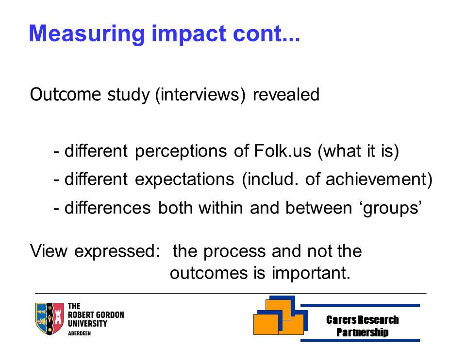 Measuring impact cont...
