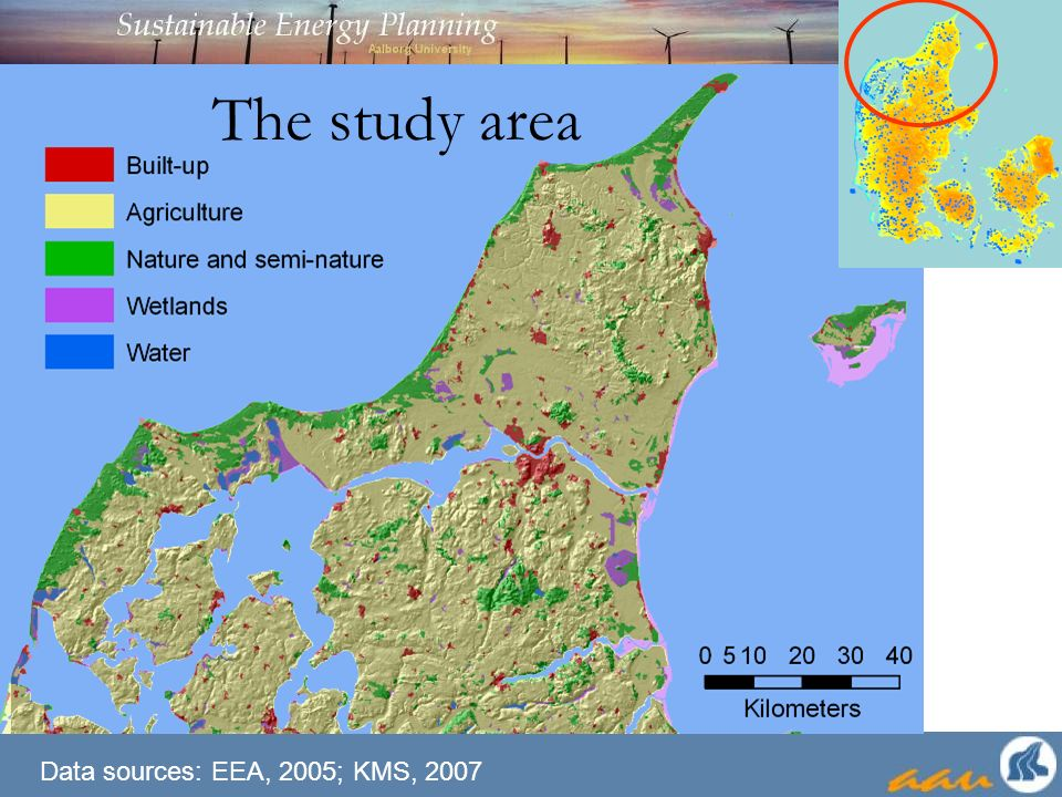 The study area Data sources: EEA, 2005; KMS, 2007