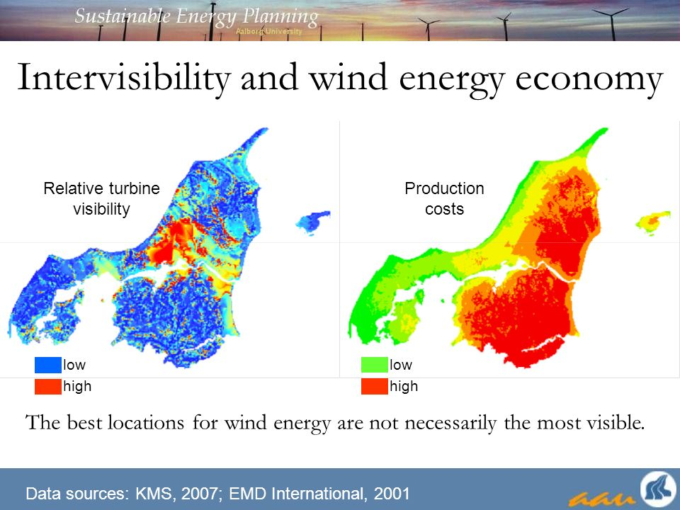 Intervisibility and wind energy economy The best locations for wind energy are not necessarily the most visible.