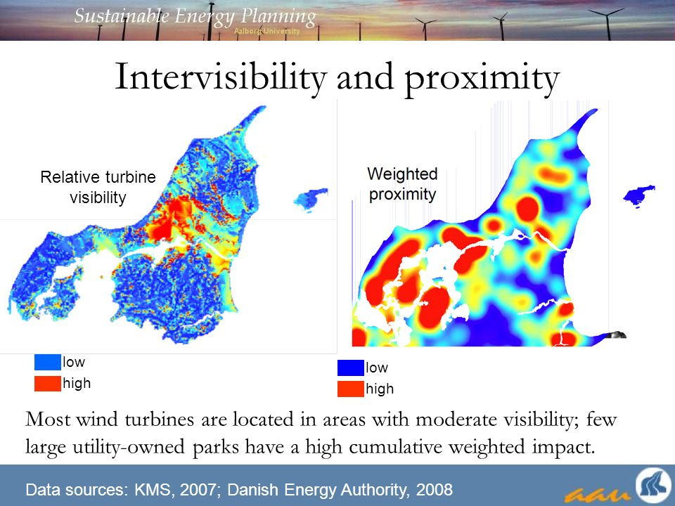 Intervisibility and proximity Most wind turbines are located in areas with moderate visibility; few large utility-owned parks have a high cumulative weighted impact.