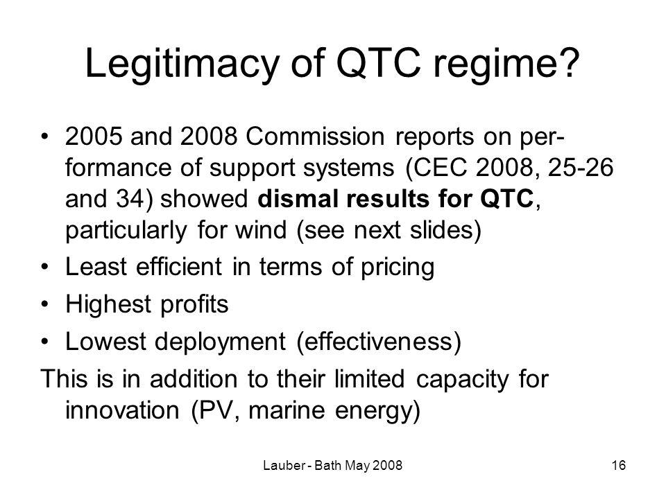 Lauber - Bath May 200816 Legitimacy of QTC regime.
