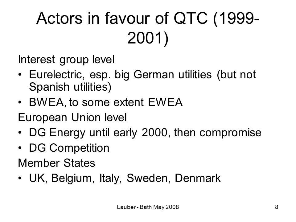 Lauber - Bath May 20088 Actors in favour of QTC (1999- 2001) Interest group level Eurelectric, esp.