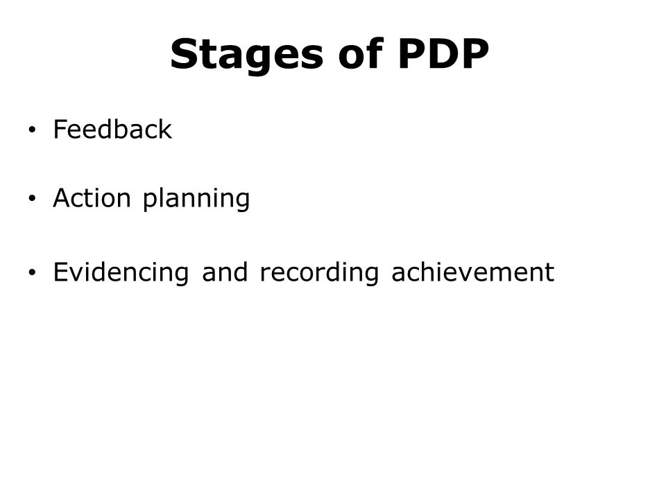 Stages of PDP Feedback Action planning Evidencing and recording achievement