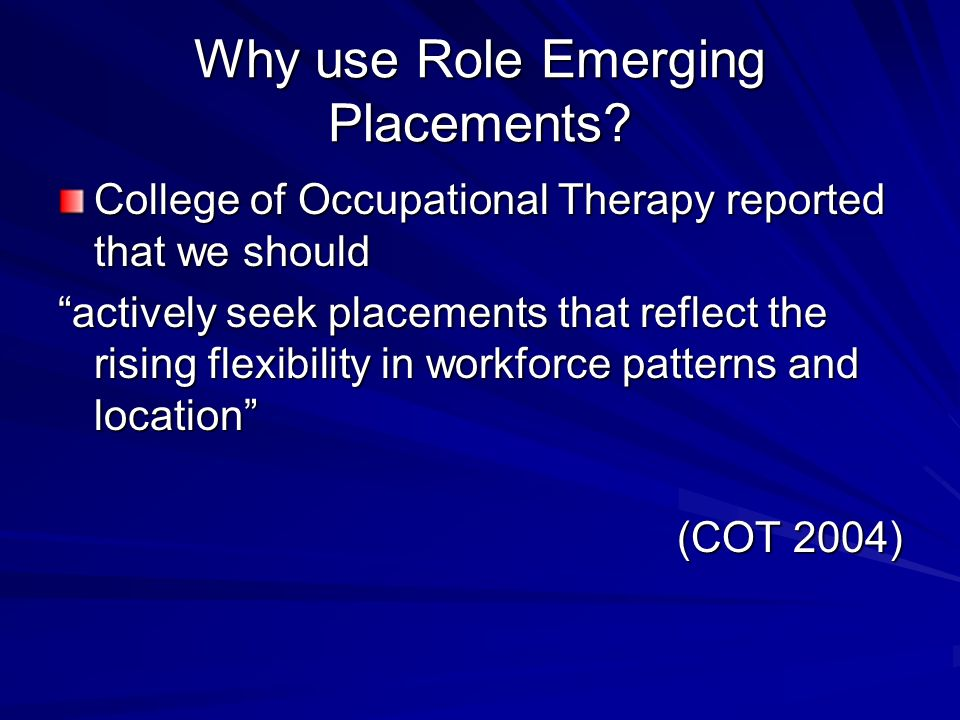 Role Emerging Placements at GCU Used for 10 years 1995 - 2005 No longer compulsory within undergraduate programme Option to use at L3 MSc students sti