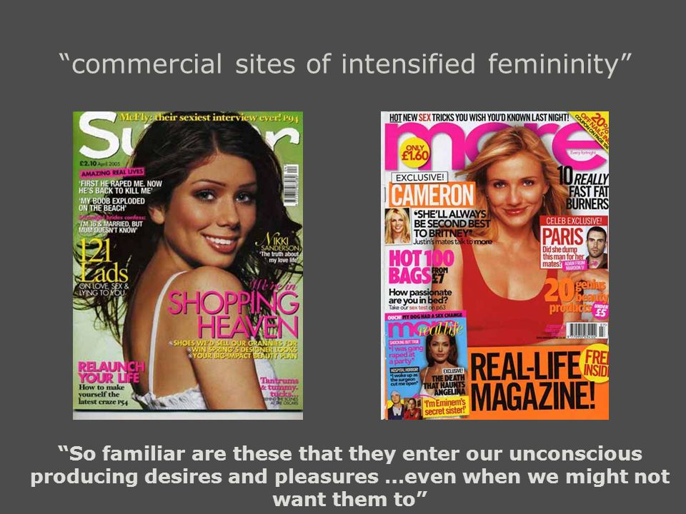 commercial sites of intensified femininity So familiar are these that they enter our unconscious producing desires and pleasures …even when we might n
