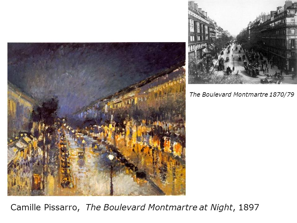 Camille Pissarro, The Boulevard Montmartre at Night, 1897 The Boulevard Montmartre 1870/79