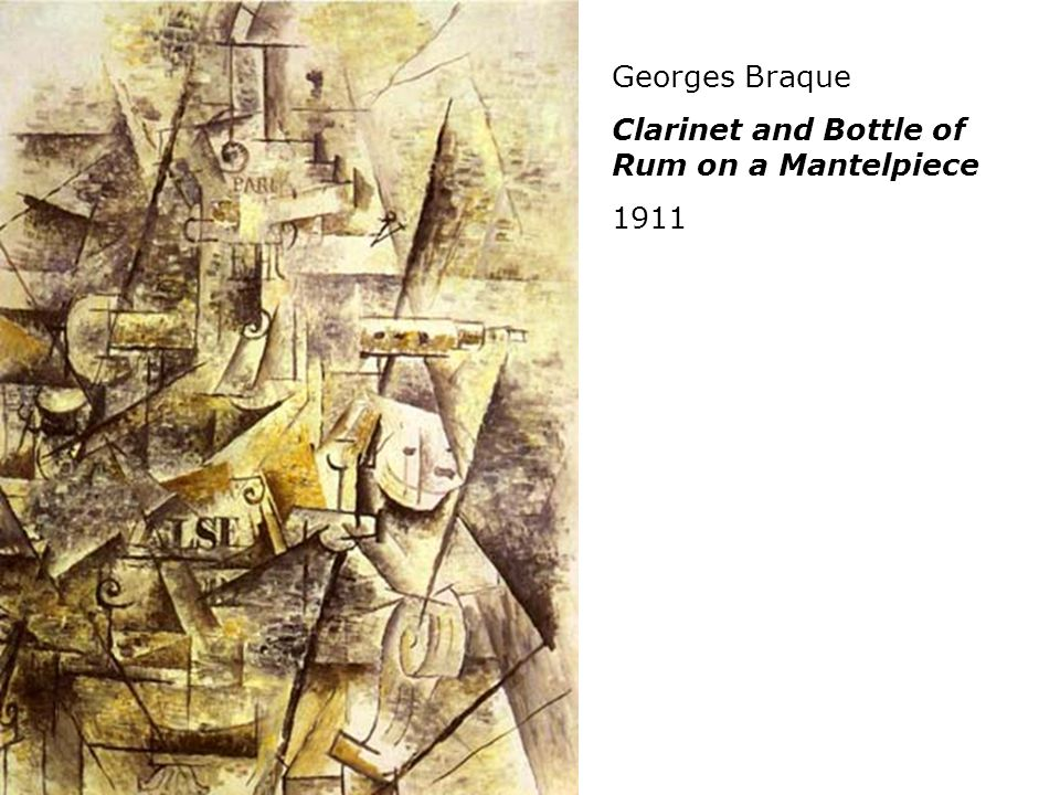 Georges Braque Clarinet and Bottle of Rum on a Mantelpiece 1911