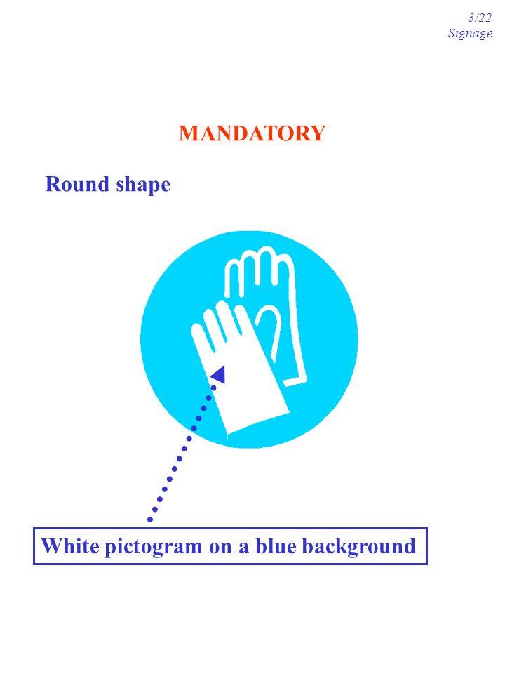 MANDATORY Round shape White pictogram on a blue background 3/22 Signage