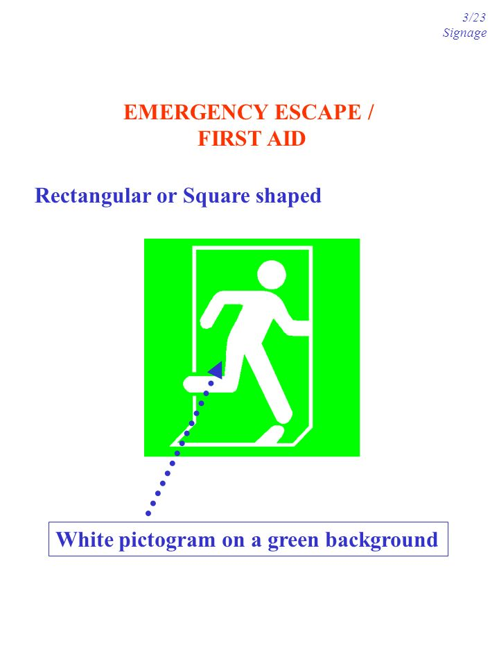 EMERGENCY ESCAPE / FIRST AID Rectangular or Square shaped White pictogram on a green background 3/23 Signage